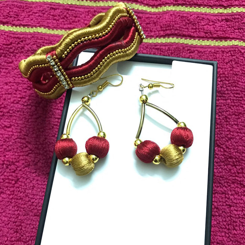 Handmade Red And Gold Combo Silk Thread Bangle, Earring Set