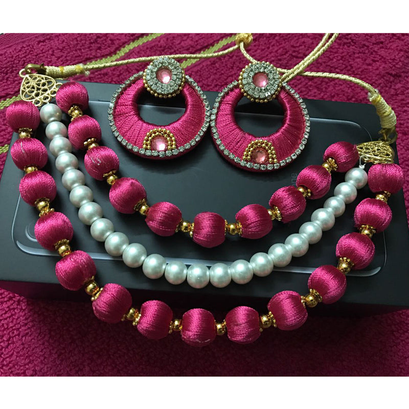Handmade Pink Pearl Grendy Necklace Earring Set