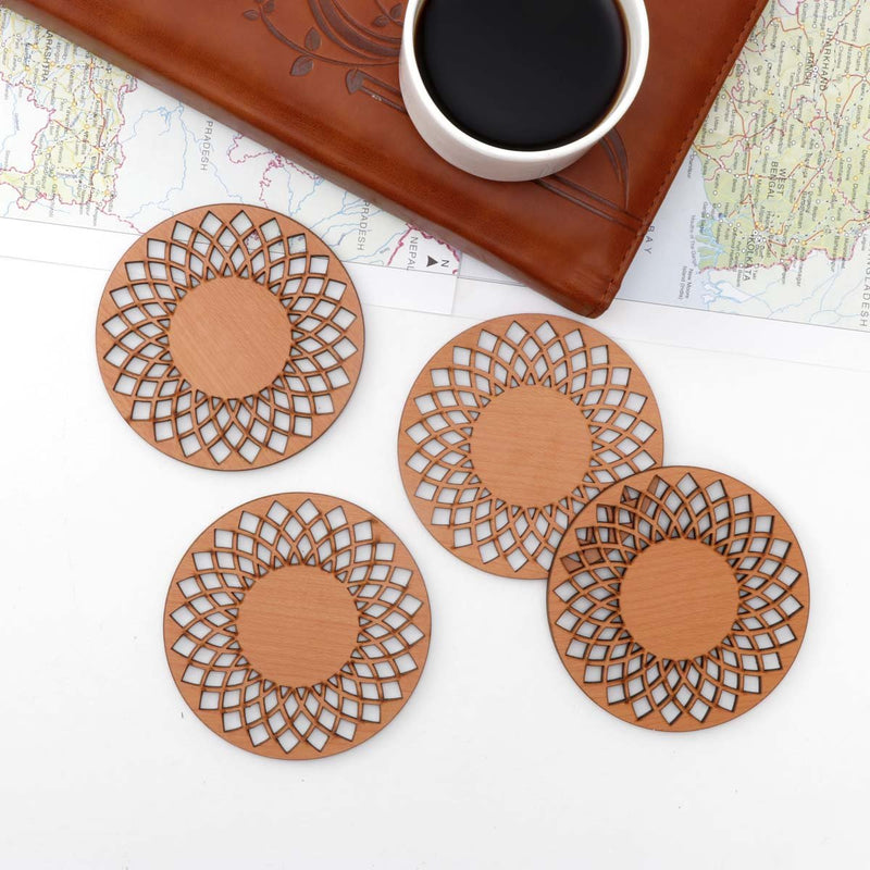Natural Brown Color Mandala MDF Wooden Coasters (Set of 4)
