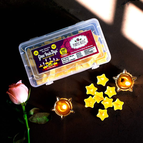 Ghee Instadiya With Rose Essential Oil (100% Natural and Handmade) - 60 Diyas With 2 Steel Diya Holders at Qtrove