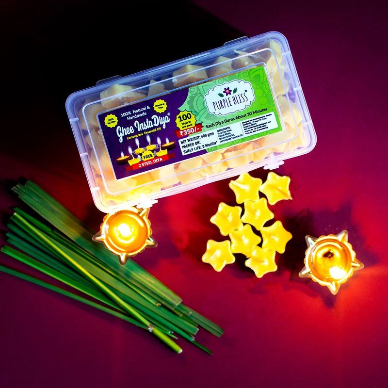 Ghee Instadiya With Lemongrass Essential Oil (100% Natural & Handmade)- 100 Diyas With 2 Steel Diya Holders