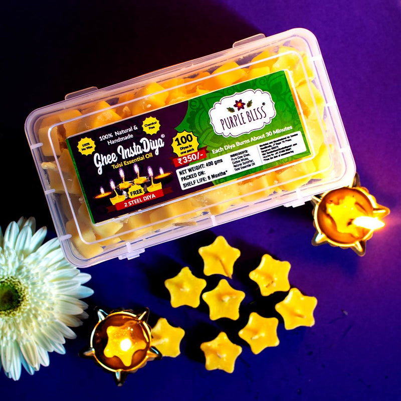 Ghee Instadiya With Tulsi Essential Oil (100% Natural & Handmade) - 100 Diyas With 2 Steel Diya Holders