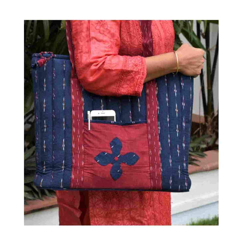 Navy Blue Ikat  Quilted Laptop Bag