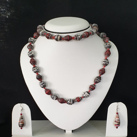 Neck Piece Set Round Beads With Matching Tear Drop Ear Rings (DC:1024)