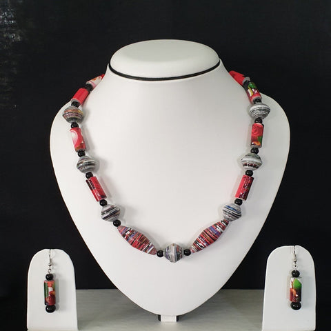 Neck Piece Set Multi Shaped Beads With Matching Ear Rings (DC:1021)