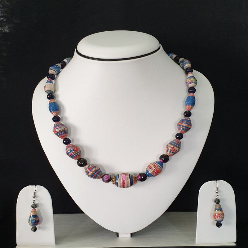 Neck Piece Set Of Tear Drop And Big Oval Beads With Matching Ear Rings (DC:1019)
