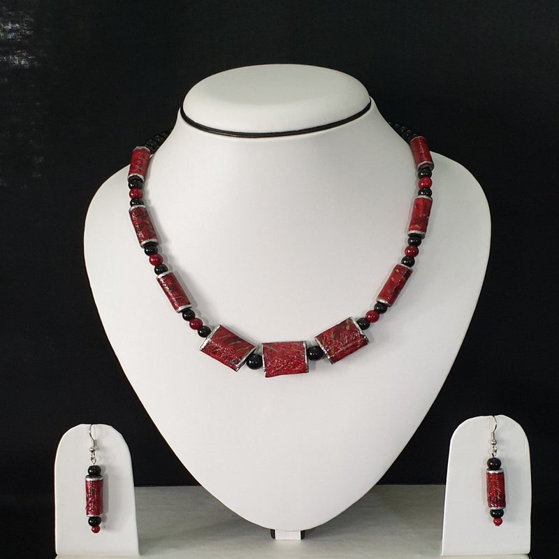 Neck Piece Set Of Tube Shaped Beads With Matching Ear Rings (DC: 1009)