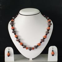 Neck Piece Set Of Cone And Bicone Shaped Beads With Matching Ear Rings (DC:1010)