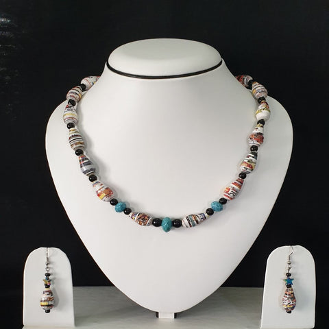 Neck piece set of cone shaped beads with matching ear rings (DC:1001)