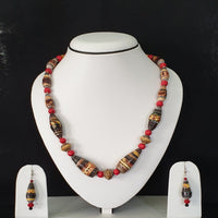 Neck Piece Set Of Multi Shaped Beads  And Red Spacer Beads With Matching Ear Rings (DC:1029)