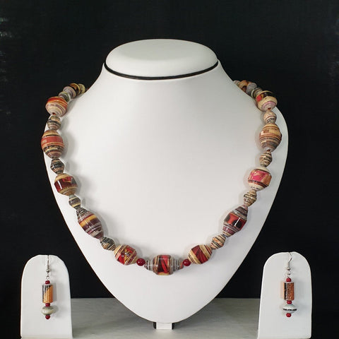 Neck Piece Set Of Multi Shaped Beads With Matching Ear Rings (DC:1013)