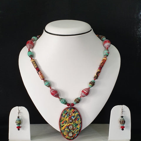 Neck Piece Set Of Multi Shaped Beads With Pendant And Matching Ear Rings (DC:1003)