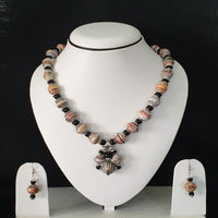 Neck Piece Set Of Round Beads With Matching Ear Rings (DC:1002)