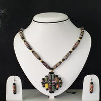 Neck Piece Set Of Tube Shaped Beads And Golden And Black Spacer Beads With Pendant And Matching Ear Rings (DC:1030)