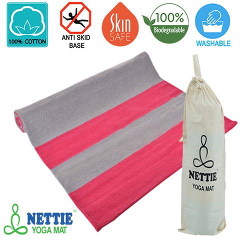Nettie Supreme Anti Skid Yoga Mat - Stone Grey & Pink