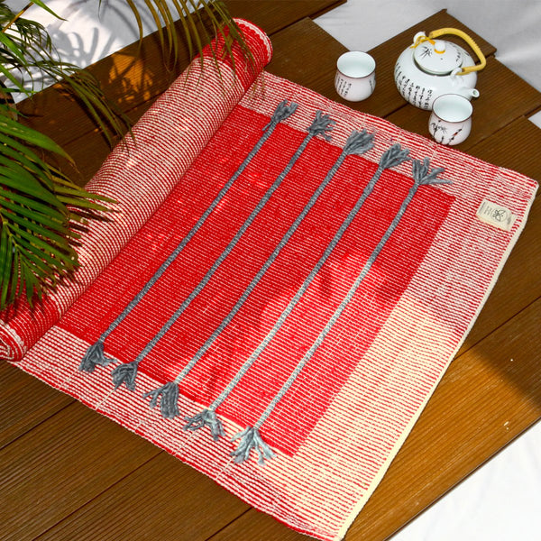 Nirvana Red Cotton Yoga Mat at Qtrove