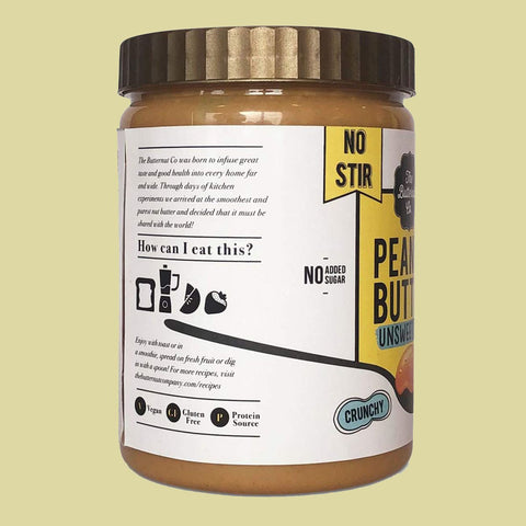No Stir Unsweetened Crunchy ( No Added Sugar, High Protein, Keto Friendly, Vegan Peanut Butter )