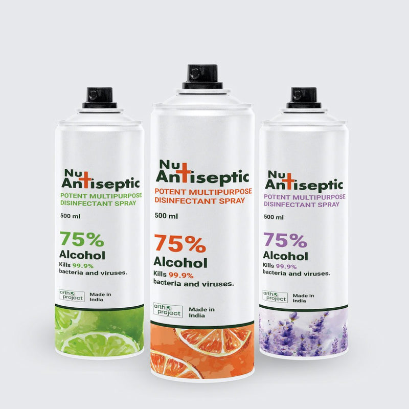 Nu Antiseptic Multipurpose Potent Surface Disinfectant Spray - Pack of 3 (Lime, Lavender and Orange)