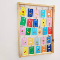 Nursery Learning Flash Cards With Wooden Frame| Kids Decor