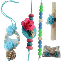 Oceanic Blue Rose Bhaiya Bhabhi Rakhi Set