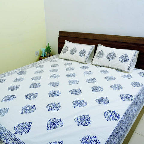Off white base Blue colour Ethinic Design 100% Cotton King Size Bedsheet with 2 Pillow Colour