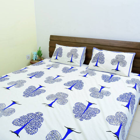 Off white base Blue colour Ethinic  Tree Design 100% Cotton King Size Bedsheet with 2 Pillow Colour