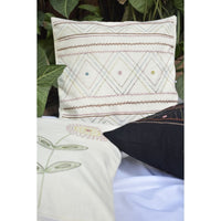 Off White Cotton Cushion Cover With Mirror Work Embroidery
