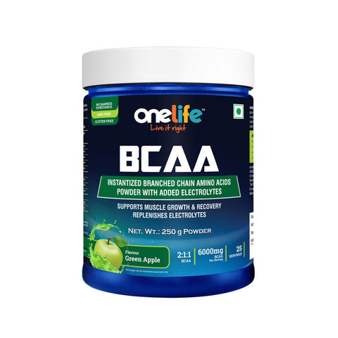 Onelife BCAA Green Apple -Supports Muscle Recovery 250gm