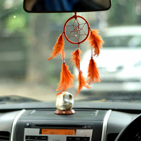 Orange Color Dream Catcher Wall Hanging (Small)