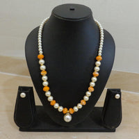Orange Stone - Handcrafted Pearl Necklace set with matching Earrings