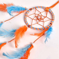 Orange & Light Blue Color Dream Catcher Wall Hanging (Small)