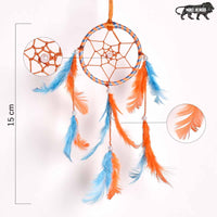 Orange & Light Blue Color  Feathers Car and Wall Hanging (Small)