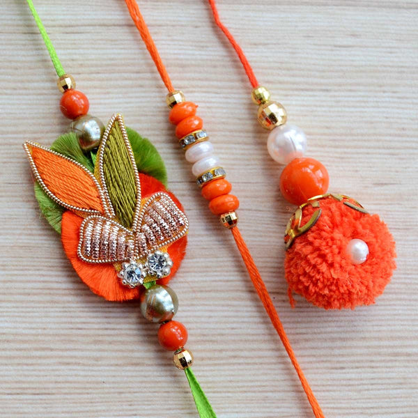 Orange and Green Beads Zardozi Indian Rakhi and Lumba Raksha Bandhan Set (Set of 3) at Qtrove