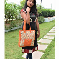 Orange Stripes Kalamkari Tote Bag