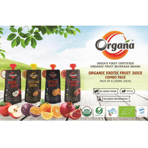 Organic Exotic Fruit Juice Combo Pack  - 8 x 200 ml,  4 Flavours of 2 Each