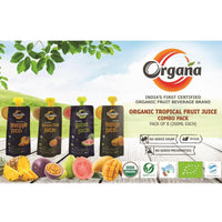 Organic Tropical Fruit Juice Combo Pack  - 8 x 200 ml, 4 Flavours of 2 Each
