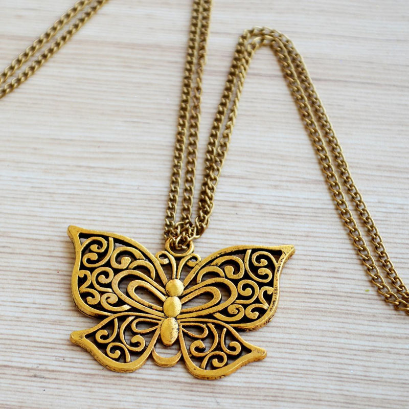 Ornate Butterfly Pendant with Double Chain Necklace