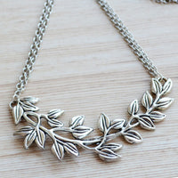 Ornate Leaf Shoot Pendant with Double Chain Necklace