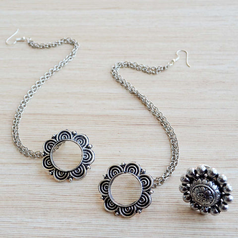 Oxidized Silver Flower Earring with Ear Chain (Kanauti) & Finger Ring (Bohemian Jewellery)