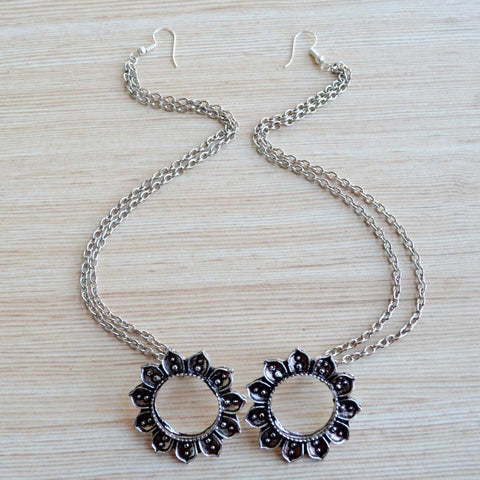 Oxidized Silver Sunflower Earring with Ear Chain (Bohemian Jewellery)