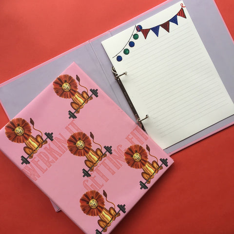 Workout Lion mini folder notebook
