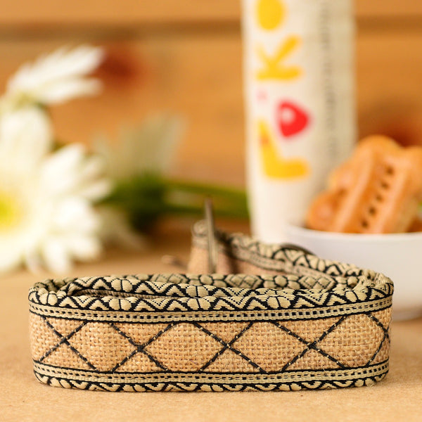 Eco-Friendly Jute Dog Collar - Natural Cross at Qtrove