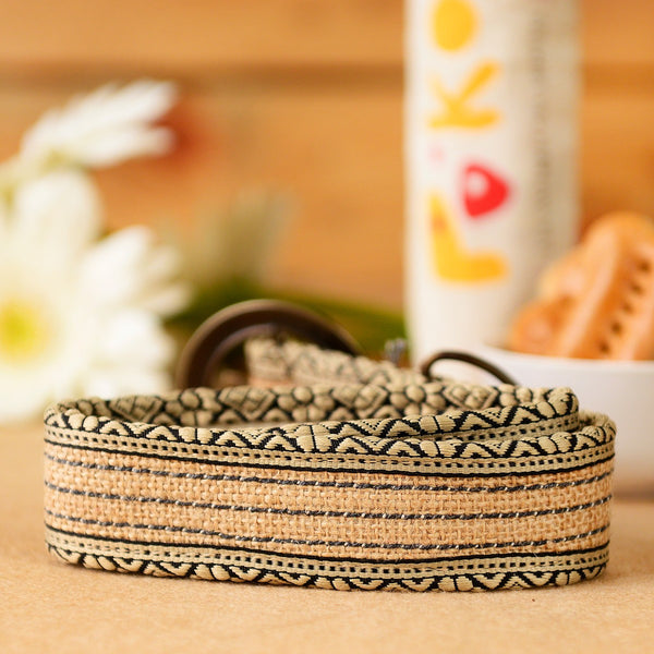 Eco-Friendly Jute Dog Collar - Natural Stripes at Qtrove