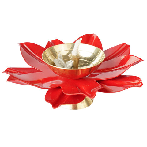 Red Big Lotus Candleholder (Pack of 2)