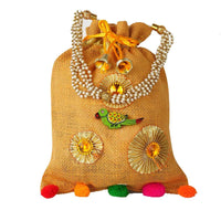 Jute Potli Bag Beaded Handle And Pompoms (Pack of 3)