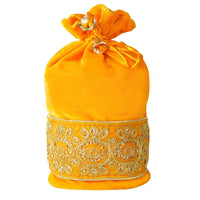Round Velvet Zari Embroidered Potli Bag (Medium)(Pack of 8)