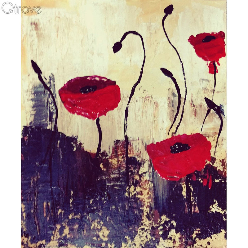 Hand Painted Abstract Poppies