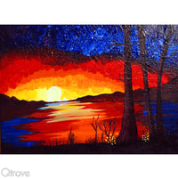 Hand Painted Lake View Scenery Painting in Acrylics