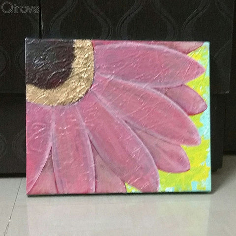 Hand Painted Abstract Pink Sunflower