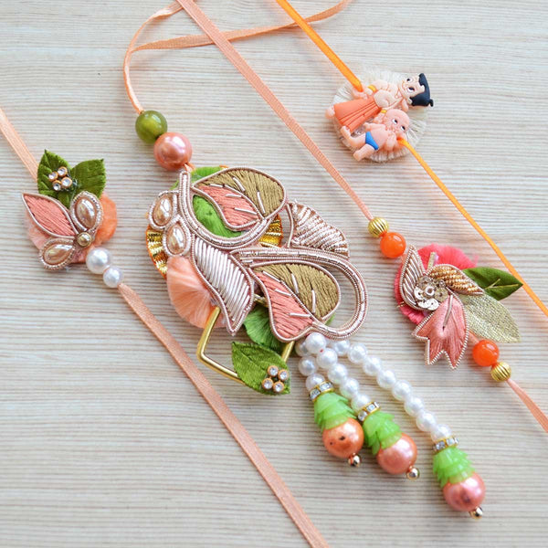 Peach Green Pearl Bead Designer Rakhi (Set of 4) at Qtrove